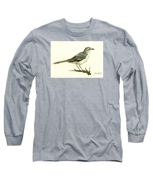 Northern Mockingbird Long Sleeve T-Shirt by Juan  Bosco