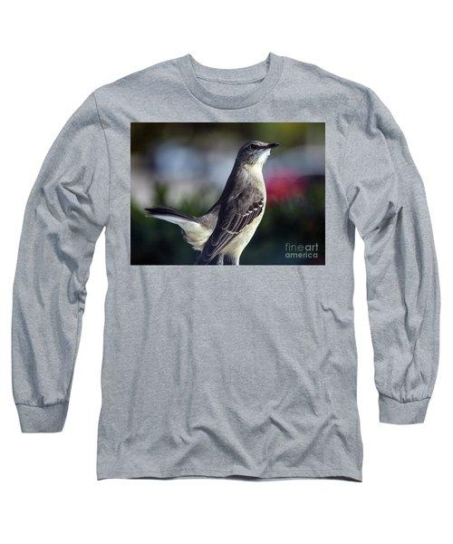 Northern Mockingbird Up Close Long Sleeve T-Shirt by William Tasker