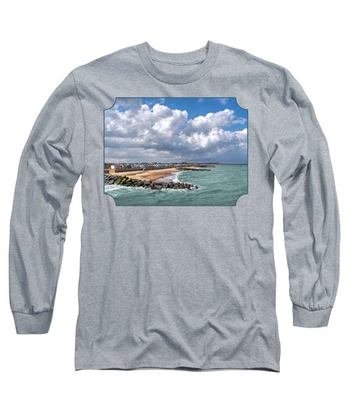 Ocean View - Colorful Beach Huts Long Sleeve T-Shirt by Gill Billington