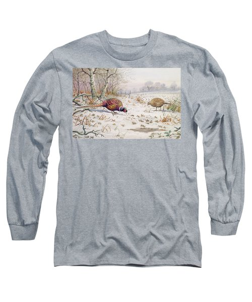 Pheasant And Partridge Eating  Long Sleeve T-Shirt by Carl Donner