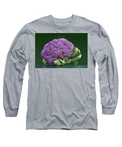 Purple Cauliflower Long Sleeve T-Shirt by Nikolyn McDonald
