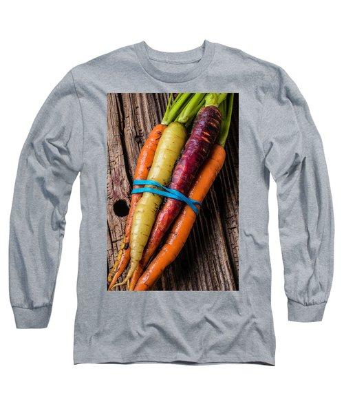 Rainbow Carrots Long Sleeve T-Shirt by Garry Gay