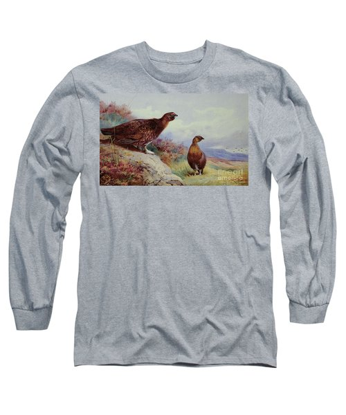 Red Grouse On The Moor, 1917 Long Sleeve T-Shirt by Archibald Thorburn
