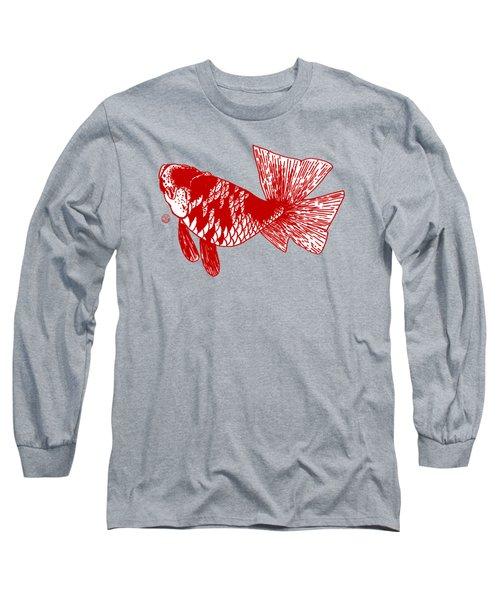 Red Ranchu Long Sleeve T-Shirt by Shih Chang Yang