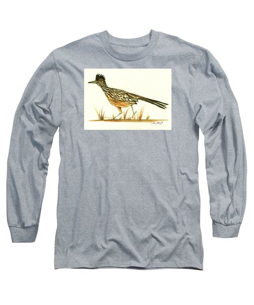Roadrunner Bird Long Sleeve T-Shirt by Juan Bosco