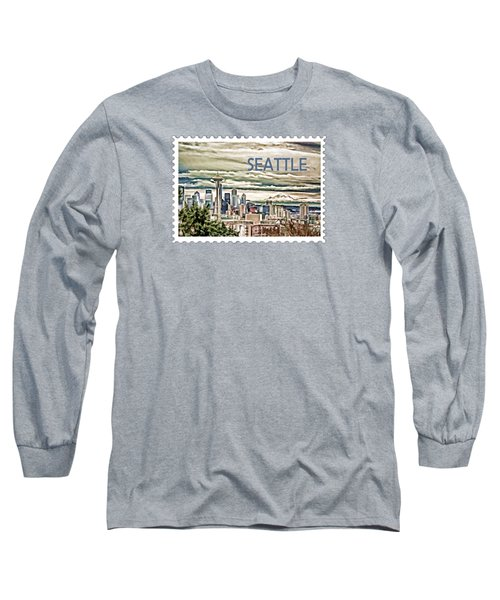 Seattle Skyline In Fog And Rain Text Seattle Long Sleeve T-Shirt by Elaine Plesser