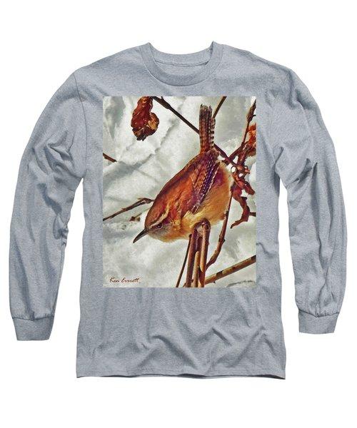 Slim Pickens, Carolina Wren Long Sleeve T-Shirt by Ken Everett