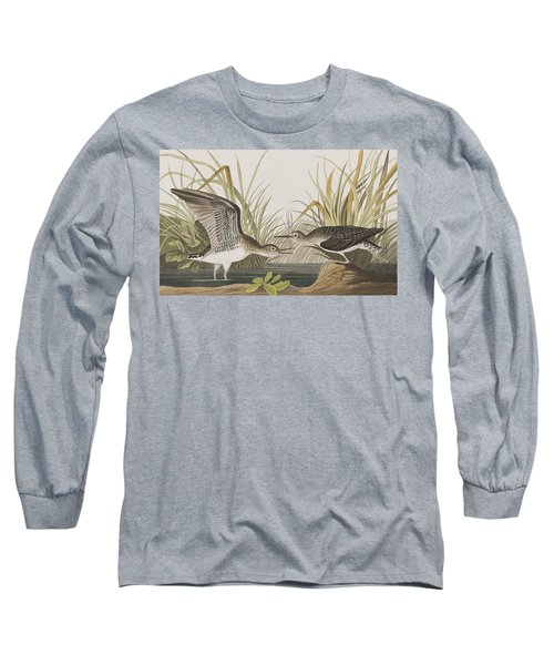 Solitary Sandpiper Long Sleeve T-Shirt by John James Audubon