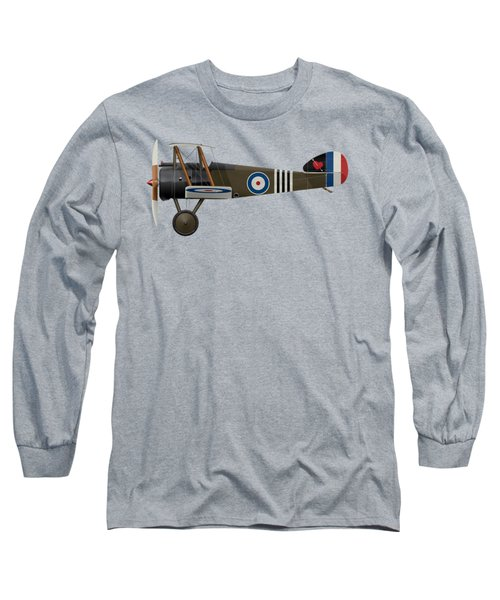 Sopwith Camel - B6313 June 1918 - Side Profile View Long Sleeve T-Shirt by Ed Jackson