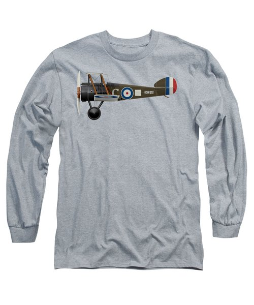 Sopwith Camel - B6344 - Side Profile View Long Sleeve T-Shirt by Ed Jackson