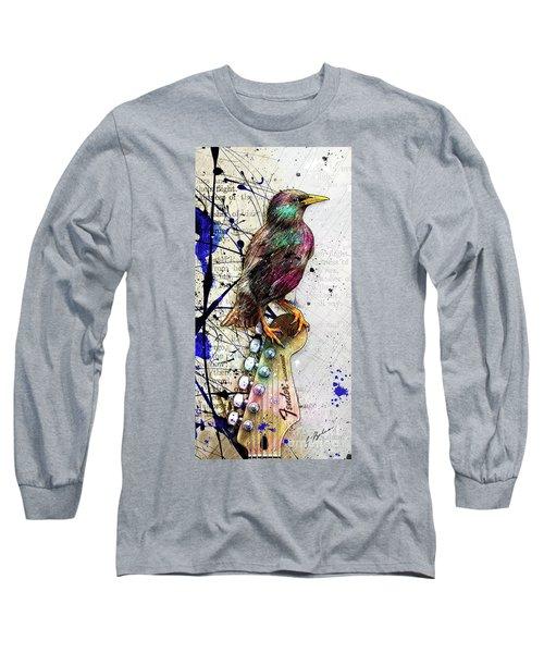 Starling On A Strat Long Sleeve T-Shirt by Gary Bodnar