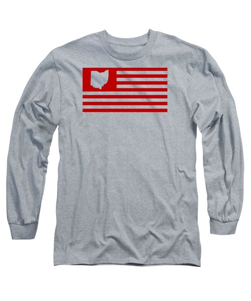 State Of Ohio - American Flag Long Sleeve T-Shirt by War Is Hell Store