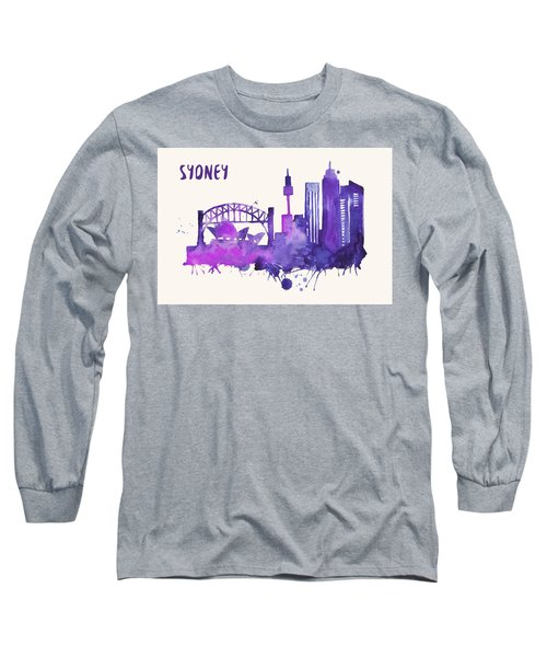 Sydney Skyline Watercolor Poster - Cityscape Painting Artwork Long Sleeve T-Shirt by Beautify My Walls