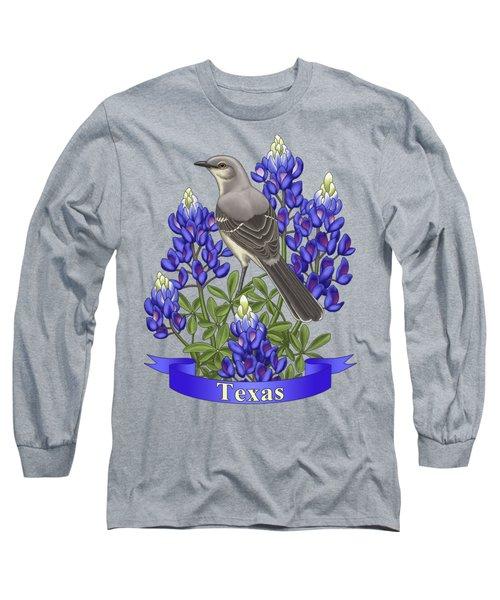 Texas State Mockingbird And Bluebonnet Flower Long Sleeve T-Shirt by Crista Forest