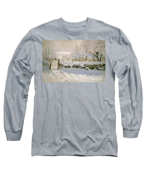 The Magpie Long Sleeve T-Shirt by Claude Monet