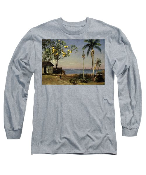 Tropical Scene Long Sleeve T-Shirt by Albert Bierstadt