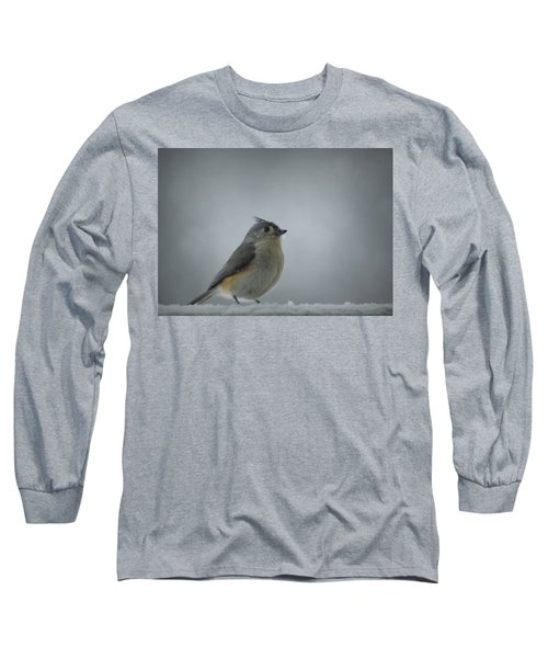 Tufted Titmouse In The Snow Long Sleeve T-Shirt by Cricket Hackmann