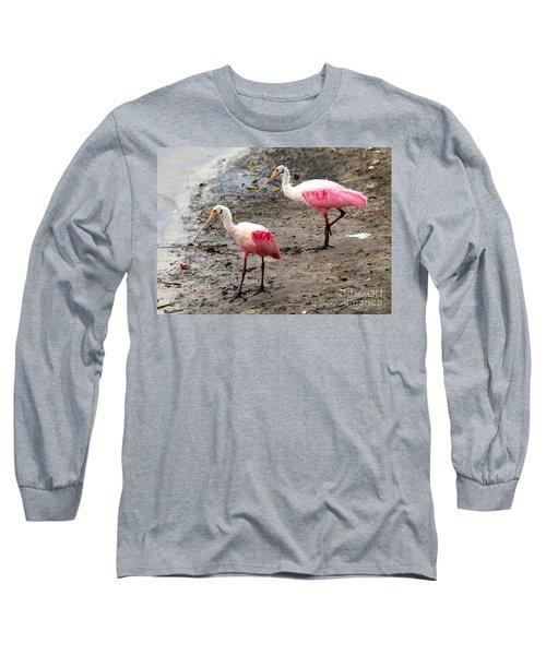 Two Roseate Spoonbills Long Sleeve T-Shirt by Carol Groenen