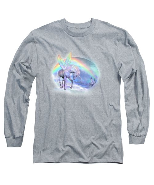 Unicorn Of The Rainbow Long Sleeve T-Shirt by Carol Cavalaris