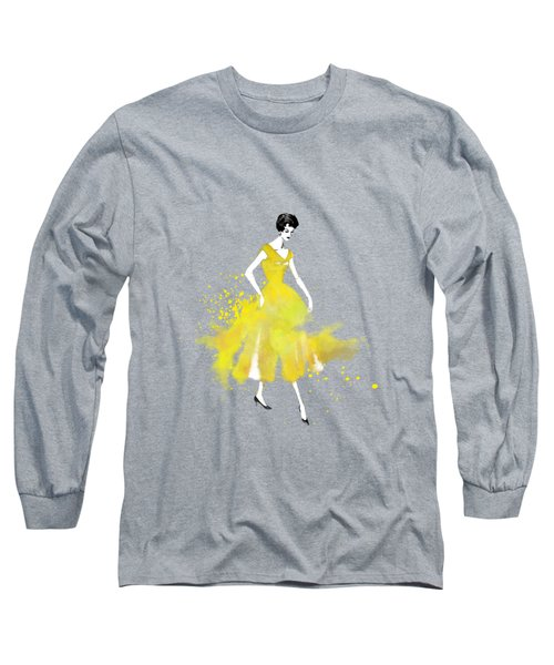 Vintage Yellow Dress Long Sleeve T-Shirt by Diana Van