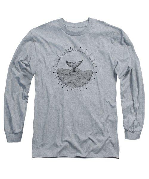 Whale In Waves Long Sleeve T-Shirt by Konstantin Sevostyanov