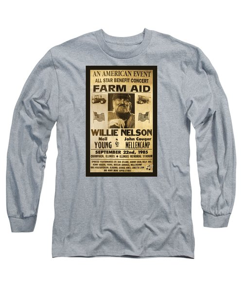 Willie Nelson Neil Young 1985 Farm Aid Poster Long Sleeve T-Shirt by John Stephens