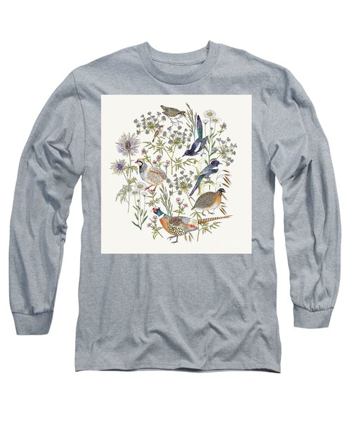 Woodland Edge Birds Placement Long Sleeve T-Shirt by Jacqueline Colley
