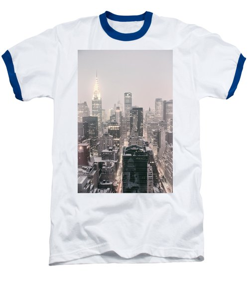 New York City - Snow Covered Skyline Baseball T-Shirt by Vivienne Gucwa
