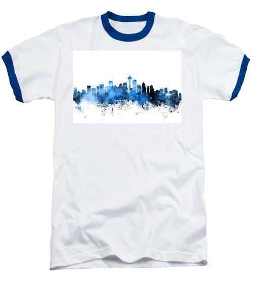 Seattle Washington Skyline Baseball T-Shirt by Michael Tompsett