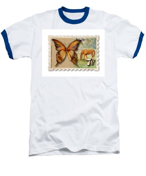 7 Cent Butterfly Stamp Baseball T-Shirt by Amy Kirkpatrick