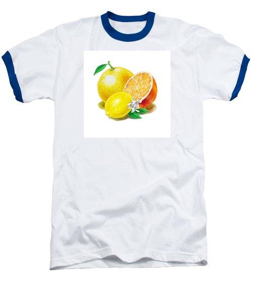 A Happy Citrus Bunch Grapefruit Lemon Orange Baseball T-Shirt by Irina Sztukowski