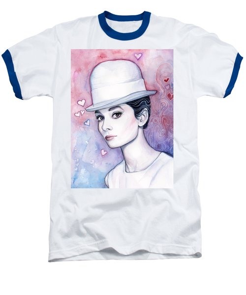 Audrey Hepburn Fashion Watercolor Baseball T-Shirt by Olga Shvartsur