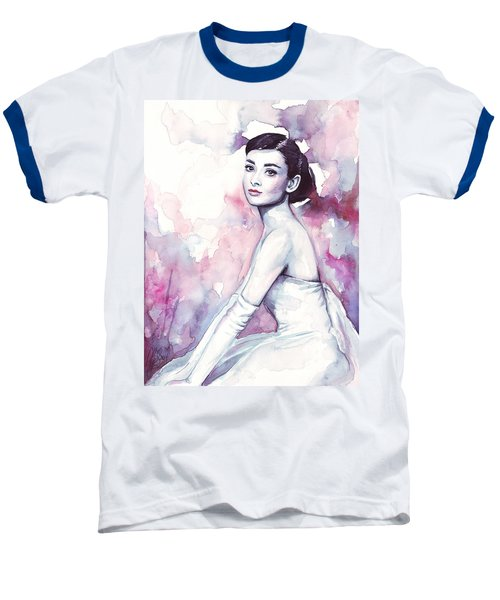 Audrey Hepburn Purple Watercolor Portrait Baseball T-Shirt by Olga Shvartsur