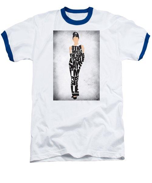 Audrey Hepburn Typography Poster Baseball T-Shirt by Ayse Deniz