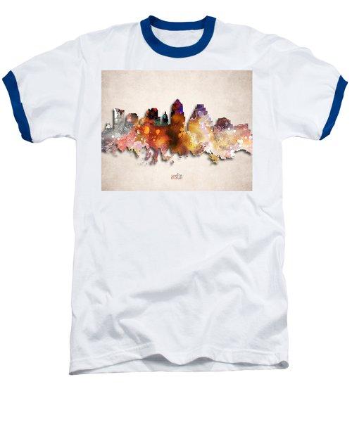 Austin Painted City Skyline Baseball T-Shirt by World Art Prints And Designs