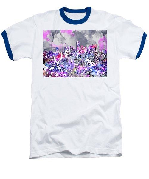 Austin Texas Watercolor Panorama2 Baseball T-Shirt by Bekim Art