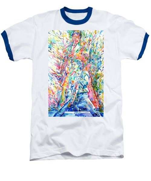 Bruce Springsteen And Clarence Clemons Watercolor Portrait Baseball T-Shirt by Fabrizio Cassetta