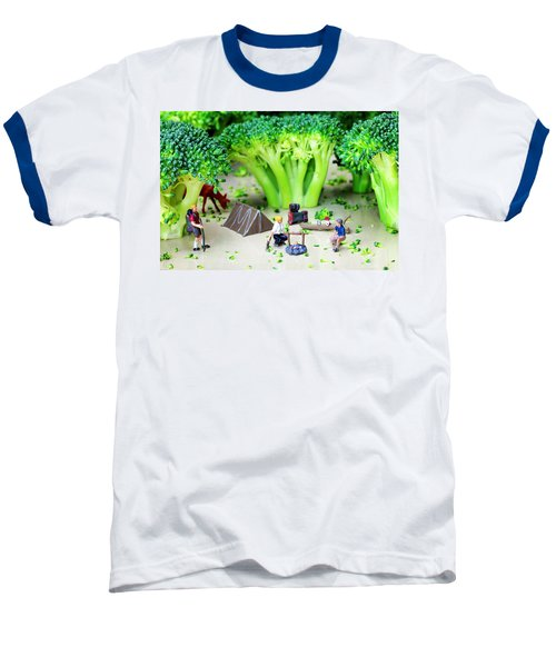 Camping Among Broccoli Jungles Miniature Art Baseball T-Shirt by Paul Ge