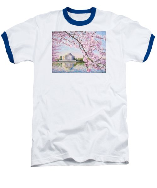 Jefferson Memorial Cherry Blossoms Baseball T-Shirt by Patty Kay Hall