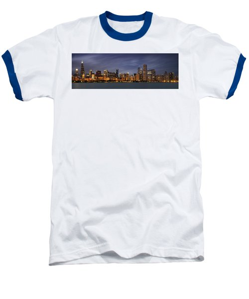 Chicago Skyline At Night Color Panoramic Baseball T-Shirt by Adam Romanowicz