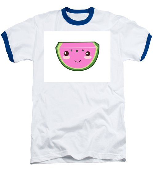Cute Watermelon Illustration Baseball T-Shirt by Pati Photography