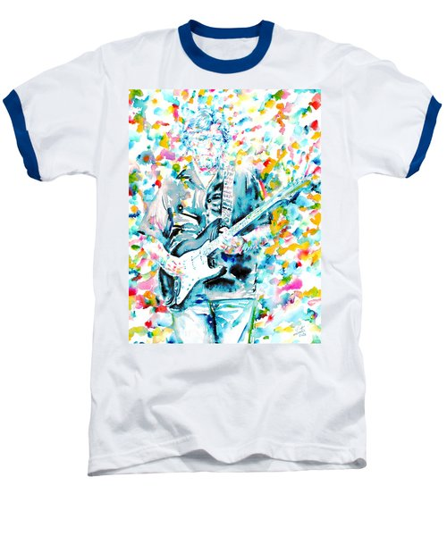 Eric Clapton - Watercolor Portrait Baseball T-Shirt by Fabrizio Cassetta