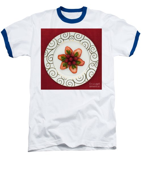 Flowering Fruits Baseball T-Shirt by Anne Gilbert
