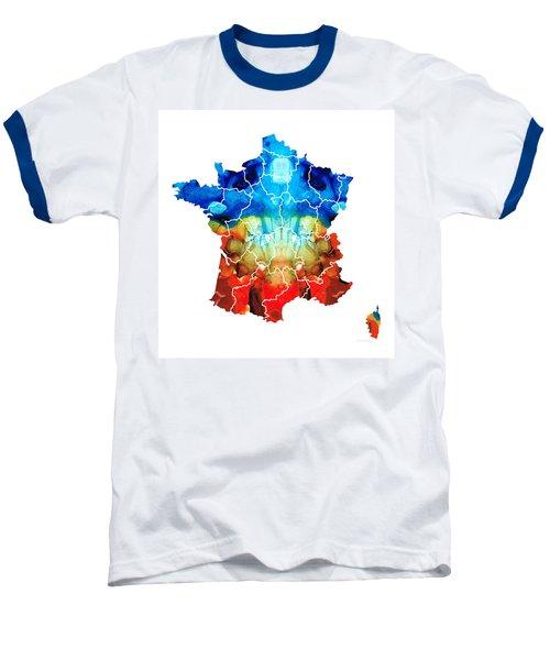 France - European Map By Sharon Cummings Baseball T-Shirt by Sharon Cummings