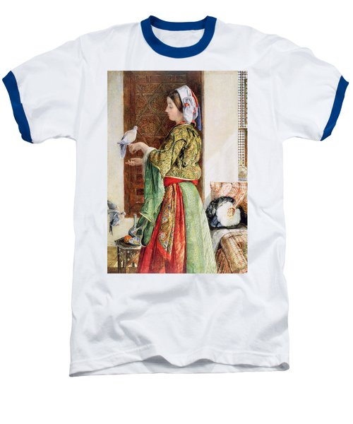 Girl With Two Caged Doves, Cairo, 1864 Baseball T-Shirt by John Frederick Lewis