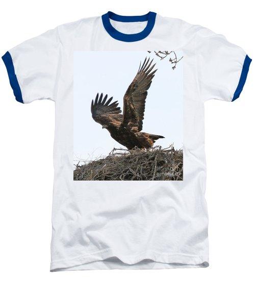 Baseball T-Shirt featuring the photograph Golden Eagle Takes Off by Bill Gabbert