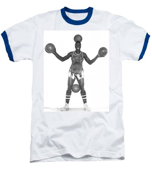 Harlem Globetrotters Player Baseball T-Shirt by Underwood Archives