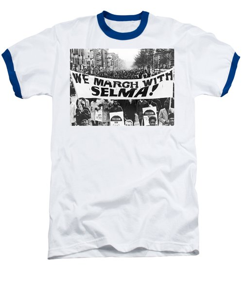 Harlem Supports Selma Baseball T-Shirt by Stanley Wolfson