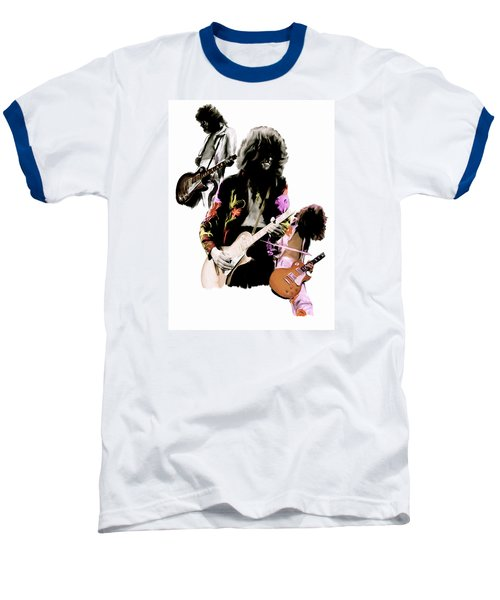 In Flight Iv Jimmy Page  Baseball T-Shirt by Iconic Images Art Gallery David Pucciarelli