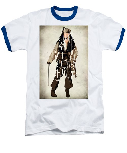 Jack Sparrow Inspired Pirates Of The Caribbean Typographic Poster Baseball T-Shirt by Ayse Deniz